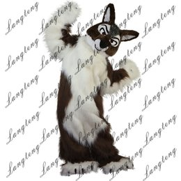 Discount free hair mascot - 2018 New high quality Long hair brown Wolf Mascot costumes for adults circus christmas Halloween Outfit Fancy Dress Suit