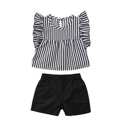 toddler fashion sets 2019 - 2PCS Toddler Kid Girl 2018 Striped Tops Blouse Shorts Black Pants Outfit Clothes Fashion Summer Set Sunsuit cheap toddle