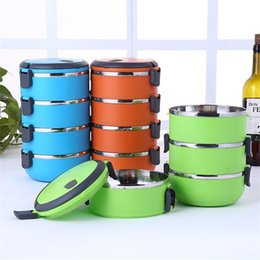 Bento chopsticks online shopping - New Creative Multi Storey Circular Student Heat Preservation Bento Boxes Stainless Steel Lunch Box Food Storage Container sx4 aa