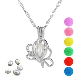 cage pendants for pearls 2019 - Pearl Cage Butterfly Locket Pendant Findings Cage Essential Oil Diffuser Locket For Oyster Pearl Fiber Ball cheap cage p