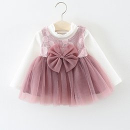 2f87dd2b9 Girl Dress New Fashion Spring Autumn Baby Clothes Long Sleeve Top+Vest Dress  2Pcs Suit Big Bow Decoration Newborn Girls Clothes Y18102207