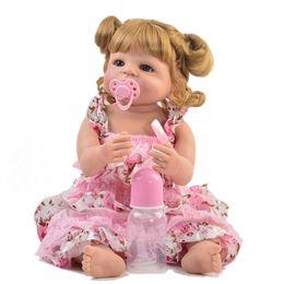 "Discount lifelike child dolls - Full silicone vinyl reborn baby dolls 22""55cm curly hair girl bebe reborn lifelike child gift toy doll poupee rebor"