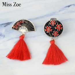 mexican lanterns UK - Miss Zoe Japanese-style Enamel pins with red tassels Vintage lantern fan Brooch Button Pin Buckle Shirt Badge Gift for Kids friends
