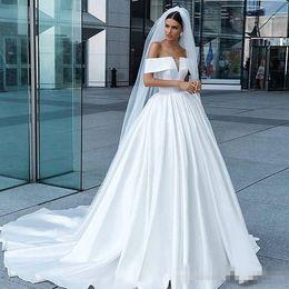 Simple Garden Wedding Gown NZ - Romantic White Satin Wedding Dresses 2019 Off Shoulder Lace-Up Sweep Train Simple Style Bridal Gowns For Garden Country Vestidos De Novia