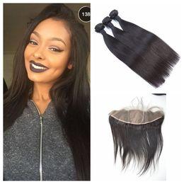 $enCountryForm.capitalKeyWord NZ - Virgin Mongolian Straight Hair Weaves With Silk Base Frontal Closure 4pcs Lot Natural Black 100% Human Hair Extensions