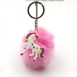 Artificial Chains Wholesalers NZ - Unicorn keychain Artificial pompoms fur ball pompon key chain women bag car keyring porte clef holder fluffy