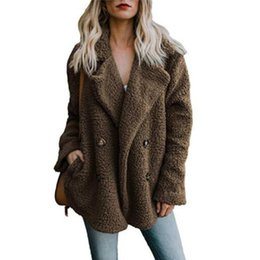 7067f3af1ad5 Weweya Winter 2018 Warm Fluffy Outwear Winter Coat Women Faux Fur Coat Women  Pocket Button Teddy Jacket Female Woman Jacket