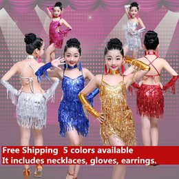 $enCountryForm.capitalKeyWord Canada - New children Kids Girls Latin dance dress Sexy Sequin Tassel tango Cha Cha ballroom costumes Practice Dance Dress Gold Blue Sliver Rose