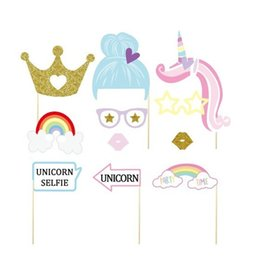 $enCountryForm.capitalKeyWord NZ - Photograph Prop Rainbow Unicorn Pony Helix Angle Paper Card Mask Handmade Christmas Birthday Party Supplies Free Shipping 9md V
