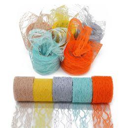 $enCountryForm.capitalKeyWord UK - 5cm*10Yard Nylon Lace Roll Colorful Tulle Tutu Skirt Fabric Spool Gift Wrap Party Birthday Supplies Wedding Table Decoration