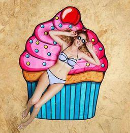 $enCountryForm.capitalKeyWord NZ - 145cm Round Polyester Beach Towel Blanket Yoga Skull 3D Printing Ice Cream Strawberry Smiley Emoji Emoji Pineapple Pie Watermelon Towel