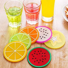 modern coasters Australia - Fruit Shape Cup Mat Round Silicone Mug Coasters Heat Insulation Antiskid