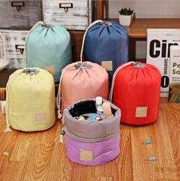 $enCountryForm.capitalKeyWord Australia - Travel Makeup Drawstring Pouch Bucket Barrel Shaped Cosmetic Bag Storage Bags Elegant Drum Wash Bags 6 Colors