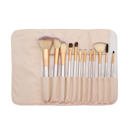 gold handles UK - 12pcs set Professional Luxury Makeup Brushes Kit Champagne Gold Wood Handle Portabel Travel Toiletry with Retail Makeup Bag