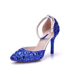 $enCountryForm.capitalKeyWord Canada - New Fashionl Elegent pointed toe shoes for women blue crystal high heel wedding shoes thick heels Beautiful rhinestone Plus Size Shoes