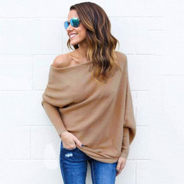 f58b749fb6d Solid Off the Shoulder Autumn Winter Knitted Sweaters Batwing Sleeve Loose  Pullovers Oversized Women Jumper Pull Femme FS5819
