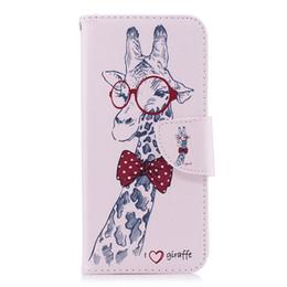 Phone giraffe online shopping - Lovely Mr Giraffe Mobile Phone TPU Back Cases Soft PU Leather Cover Wallet Cards Slot Money Holder Models for Option