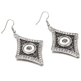 rhodium silver plated rhinestone crystal flower 2019 - 12mm Noosa Snap Earrings Jewelry Diamond Rhinestone Snap Button Earrings DIY Noosa Chunk dangle drop Earrings for Women