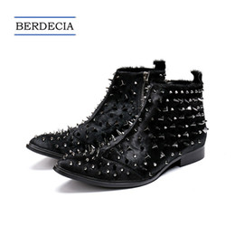 Discount designer oxford shoes - 2018 Designer Luxury Fashion Punk Rivets Men Ankle Boots Horsehair Pointed Toe Men Motorcycle Boots British Style Dress
