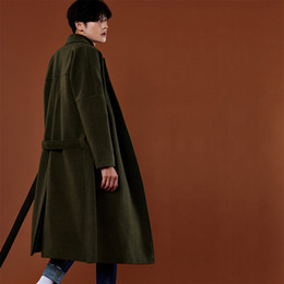 Discount young clothes - New 2017 Men's clothing South Korea in the long winter long thick loose woolen coat young wool coat