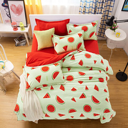 Discount tree king size bedding sets - Cute Monkey Bedding Set Single Double Queen Size Tree Planet Duvet Cover Children Girl Watermelon Sheet Cotton Pillow Ca