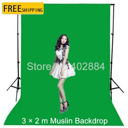 Discount valentine backgrounds - 3x2M Green Screen Photography Valentine Backdrop Cotton Muslin Backgrounds for Photo Studio Chromakey Studio Photo Backg