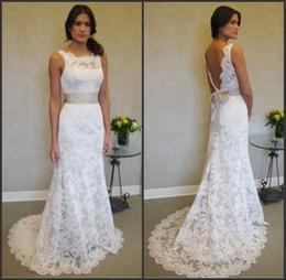 Wholesale e train for sale – custom Sleeveless High Neck Mermaid Lace Plus Size Wedding Dresses With Sash vestidos de festa curto e elegante para casamento