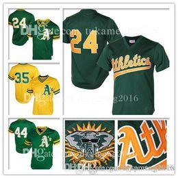 c3153b76 Mens Oakland #24 #35 Rickey Henderson #44 Reggie Jackson Jersey Athletics  Baseball Jerseys Mitchell & Ness Embroidery