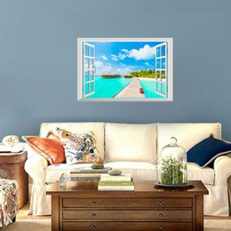 hot 3d wallpaper NZ - Hot sale Removable 3D Beach Sea Window Wall Stickers View Decor Scenery Home Decor Decal Creative Wallpaper