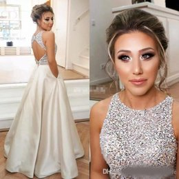Discount sparkle open back prom dresses - Sparkle Crystals Beaded Top Satin A Line Prom Dresses 2018 New Jewel Neck Open Back Floor Length Evening Gowns with Pock