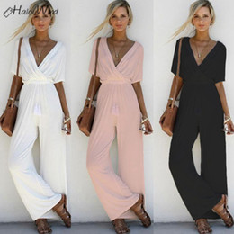 Wholesale All White Jumpsuit for Women Wide Leg Harem One Piece Long Ropmer Jumpsuits Bodysuit Combinaison Femme Casual Overalls Pink