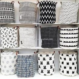 Clothes baskets storage online shopping - INS lattice letter printing Storage Bags cartoon Handbags Kids Toys Dirty clothes basket cm C3410