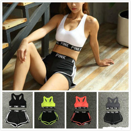 Summer Short Pants Set For Woman Canada - 2018 Fashion Summer PINK Letter Women's Tracksuit Two Piece Bra Short Pants Sport Suit Sets Yoga Vest Sets For Women