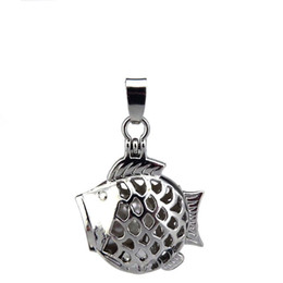 cage fish UK - 10pcs lot Silver Alloy Cute Big Mouth Head Fish Magnetic Oysters Beads Cage Locket Pendant Aromatherapy Perfume Essential Oils Diffuser