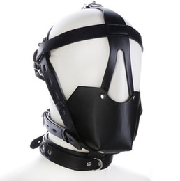 Ball gagged muzzle online shopping - Black Leather Head Harness hood with Leather Muzzle and gag ball SM Bondage bdsm sex toys