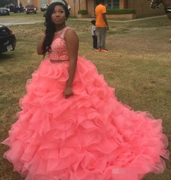 girls watermelon collar dress Canada - Watermelon Quinceanera Dresses 2019 Modest Masquerade Two Pieces Ball Gown Prom Dress Sweet 16 Girls Lace Up Back Ruffles Full Length