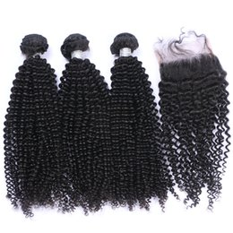 China Brazilian Human Hair Kinky Curly Hair Bundles With Closure 4Pcs lot Afro Curly Lace Closure With Hair Extensions For Black Woman cheap afro kinky human hair suppliers