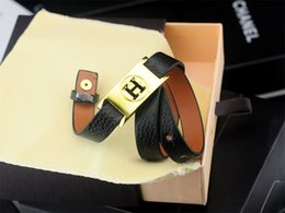 Coral Beads China Australia - Quality Celebrity design bracelet Leather Clover Cuff Bracelets Jewelry With Box
