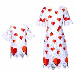 mother daughter match clothing UK - Mom Girls Dress Mother Daughter Lace Dresses 2020 Summer Kids Girls Heart Embroidery Dress Women Party Dress Family Match Clothing D870
