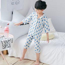 af5abe934 Summer Unisex Geometric Print 2Pcs Baby Boys Pajamas Sets Kids Homewear  O-Neck Children Sleepwear Baby Girls Clothes Hot S85125A