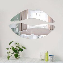 Moderna Manhã Beijando Lábios Espelho de Parede Adesivos Quarto Art Decalques Home Decor Decoração venda por atacado