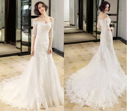 cheap xl wedding dresses NZ - Cheap Mermaid Wedding Dresses Off Shoulder Lace Appliques Sheer Illusion Back Train Short Sleeves Overskirts Bridal Gown