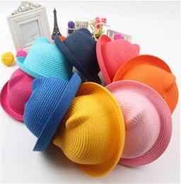 Соломенные шляпы дети характер уха украшения летняя шапка ребенок Солнце шляпа для девочек мальчиков ведро Крышка для детей шляпа пляж Панама шапки TO599