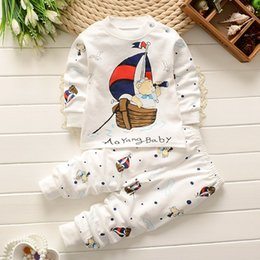 Wholesale New Children spring clothing boys girls autumn clothes sets Bear captain children T shirt trousers baby wear