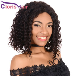 Deep Curly Indian Lace Wig Australia - Unprocessed Curly Human Hair Short Wigs For Black Women Pre Plucked Deep Wave Raw Indian Hair Lace Front Wigs Glueless Short Piexie Bob Wig