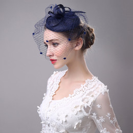 Wholesale Classic Ladies Wedding Fascinator And Hats Veil Dotted Hair Clip Grey Black Navy Linen Dinner Party Church Women Hair Headpiece