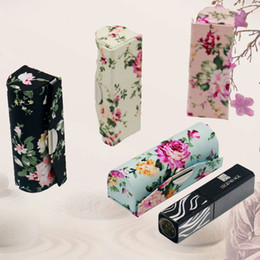 smallest lipstick UK - Pretty Portable Mirror Small Jewelry Box for Empty Lipstick Containers Tubes Flower Cloth Lip balm Packaging Lip Gloss Boxes