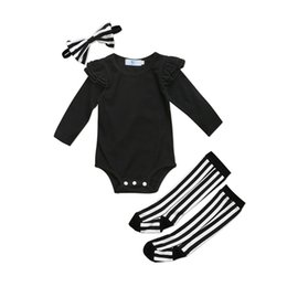Chinese  Cute Newborn Baby Girls Ruffle Romper Jumpsuit Socks Leggings Clothes Outfits Toddler Infant Girl Solid Casual Rompers Clothing manufacturers