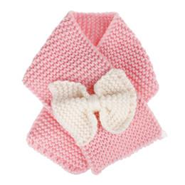 INS Baby Winter Вязаный шарф Вязание крючком для девочек Мальчики Шея Кольцо Шарф с луком Дети Теплые трикотажные шарфы Дети Рождество