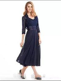 classic tea length mother bride dresses 2019 - Prom Dresses 2018 Tea-Length Mother Of The Bride Groom Dress With Jacket Long Sleeves Navy Blue Lace Plus Size Women Par
